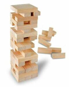 Children Wooden Block Tower Game Tumbling Stacking Wood Kids Game Toy Gift 51 Pc