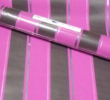 Rasch Black Pink Purple Stripey Stripe Wallpaper Retro Stylish 431605 Full Roll
