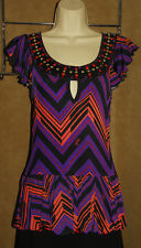 BABY PHAT - Multi Color - Geometric - Sleeveless Stretchy Tunic Blouse sz L *NEW