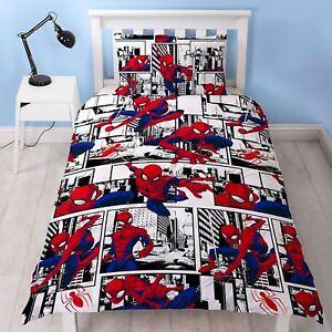 Spiderman 'Metropolis' Rotary Single Bed Duvet Quilt Cover Set Brand New Gift