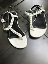 Balenciaga White Leather Studded T Strap Thong Sandals Flats Shoes Size 37