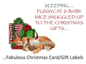 Christmas Cat & Mouse Stickers Personalised Sticky Address Labels Gift & Ribbon