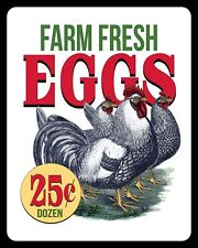 "10"" x 8"" FARM FRESH EGGS PRICE LIST HEN CHICKEN POULTRY METAL SIGN PLAQUE 933"