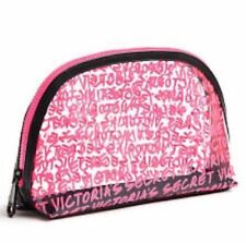 Victoria Secret Wicked Clear Graffiti Logo Cosmetics Makeup Bag-Clear Pink Logo