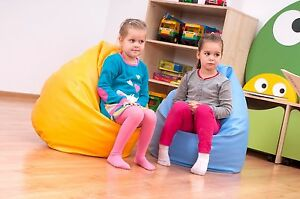 Kids Leather Bean Bag Filled Childrens Chair Seat Bedroom Play