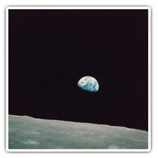 2 x Square Stickers 10 cm - Apollo 8 1968 Earth from Moon  #44111