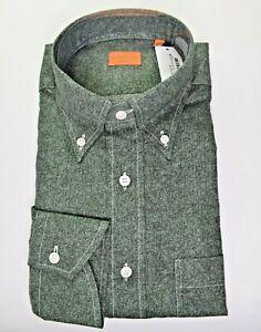 NWT $455 * Bruli * Green & Brown Herringbone Button-down Collar Dress Shirt L