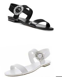 Women MK Michael Kors Viola Flat Buckle Up Sandal Leather