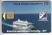 MARINE SATELLITE  TELECARTE / PHONECARD .. FINLANDE 10U BATEAU 4000EX PUCE/NEUVE