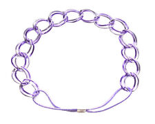 Exquisite & glam electric purple & chrome chain/stretchy strand hair band(ZX241)