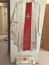 Catholic Vintage French Altar silk vestment & stole Body of Christ Motif #69