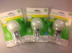 Set Of 3 GE Energy Smart CFL 15w (60w Equivalent) 74437 Soft White Light Bulbs