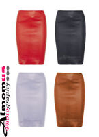 Premium Ladies Genuine Soft Lambskin Napa Leather High-waisted Pencil Skirt High