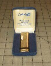 Vtg Colibri SOLID STATE Gold Tone LIGHTER in Original Box - Still Lights - Japan