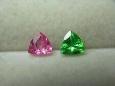 rare pair Tsavorite Garnet & Hot Pink Spinel gems Kenya Tanzania Fluorescent D07