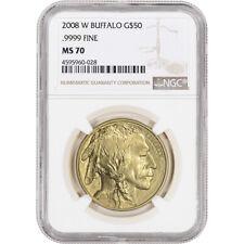 2008-W American Gold Buffalo (1 oz) $50 - Burnished - NGC MS70