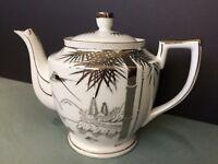 KUTANI Vintage Porcelain Japanese Teapot  White with Silver Landscape Design