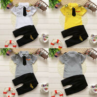 2PCs Newborn Infant Baby Boys Girls Gentleman Tie Tops Shirt Pants Outfits Sets
