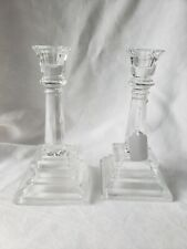 Vintage Candle Holders Glass Matching Pair Retro Collectible
