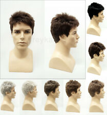 Mens Short Straight Wavy Style Synthetic Fashion Wig