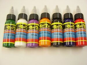 Tattoo ink set 7 x 1oz bottles ,nice ink, tattoo machines ,power supply