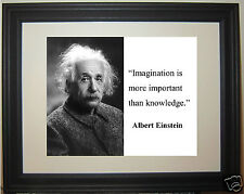 """Albert Einstein """"imagination is more important"""" Quote Framed Photo Picture #gb1"""