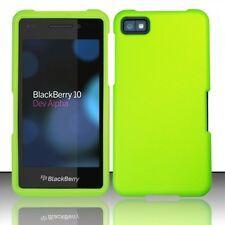 For BlackBerry Z10 Rubberized HARD Case Snap On Phone Cover Neon Green