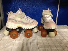 sz 2 youth Pink SKECHERS ROLLER SKATES sketchers 4-wheelers quads shoes derby 21