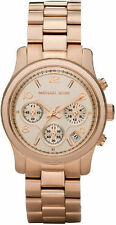 Michael Kors Mid-Size Runway Women's Chronograph Watch rose Gold Date MK5128 NEW
