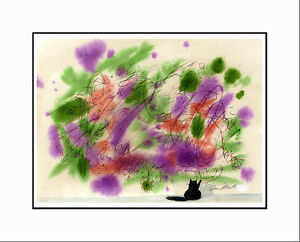 """MY CAT PAINTS"" CATMANDREW MATTED SIGNED OPEN ED. CAT ART PRINT BY DREW STROUBLE"