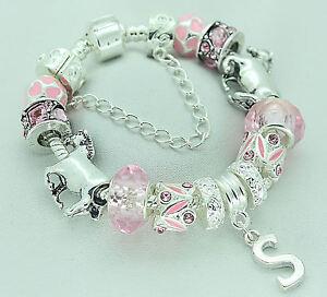 PERSONALISED Pink Silver Sparkle Horse Pony Charm Bracelet Girls BIRTHDAY Gift