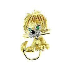 0.30 CT YELLOW GOLD EMERALD & DIAMOND LION PIN 18 KT