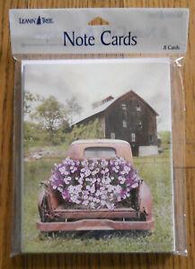 8 Leanin Tree Note Cards, RUSTIC OLD BARN & PICKUP TRUCK FULL OF PURPLE FLOWERS
