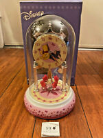 DISNEY EEYORE WINNIE THE POOH ANNIVERSARY CLOCK GLASS DOME PINK BASE w/ BOX RARE