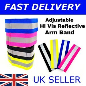 REFLECTIVE FLUORESCENT HI VIS VIZ ARM BANDS RUNNING JOGGING CYCLING WALKING SS