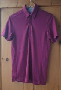 Rapha Small Merino Wool Plum Purple Polo Short Sleeve Button Pocket Cycling
