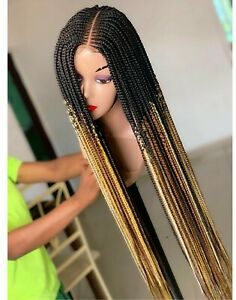 Braided Wig:Custom handmade Cornrows.Feedin Braid Lace Closure wig Location USA