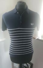 Mens Fred Perry White Black Polo Shirt Size XS Slim Fit