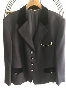 Basler Ladies Navy Blazer/Jacket Wool Blend Military VINTAGE SZ16 IMMACULATE