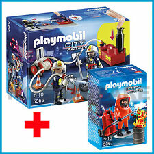 NEW PLAYMOBIL 5365 + 5367 COMBO FIRE BRIGADE w WATER PUMP + FIRE FIGHTER