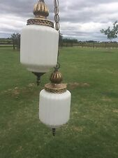 18211 Vintage Mid Century Swag Lamp 2 Tier Hollywood Regency Light ~ White Glass