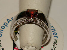 10K SOLID WG Garnet & Diamond Mom Birthstone Ring BIN NR 3.8 grams Size6 Seepic