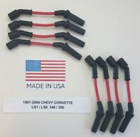 CHEVY CORVETTE 1997-2004 LS1/ LS6 5.7L 346/350 RED Spark Plug Wires MADE IN USA!