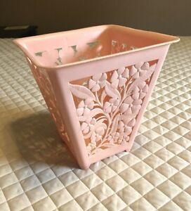 Cool Vintage Retro ~ PINK Plastic Trash Can Waste Basket Bin ~ Cut Out Flowers
