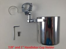 Motorcycle Handlebar Cup Holder Stainless Steel Metal Drink Harley Davidson