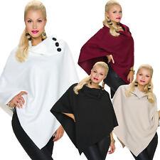 Damen Poncho Cape Jacke Knöpfe Einheits-Größe 36 Pullover elegant warm Mode top