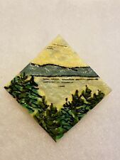 Artisan Handcrafted Handpainted Signed Herrick Pin Brooch - Landscape theme