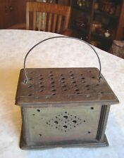 Antique Hand Crafted Folk Art Wooden Carriage Sleigh Foot Warmer Forged Handle