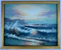 Beautiful Oil Painting on Canvas - Crashing Ocean Wave by Taylor