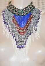 c.1880's Native American or African Tribal Handmade Beaded Choker Bib Necklace